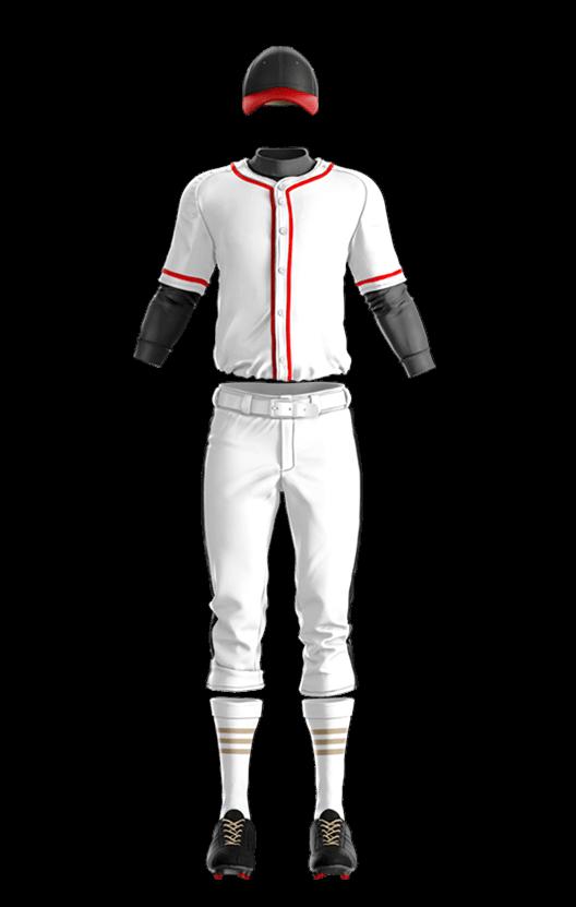 윌슨 상의 (백,적) 야구복 단체티