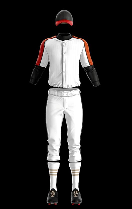 윌슨 상의 (오렌지,화이트) 야구복 단체티