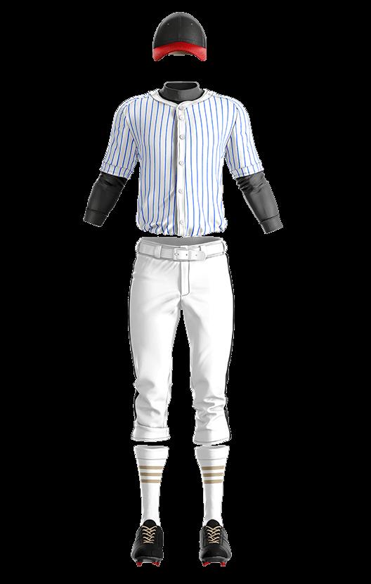 캡스록 스트라이프 상의(블루) 야구복  단체티