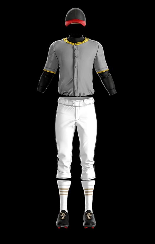 훼르자 오픈 솔리드 상의(회색) 야구복 단체티